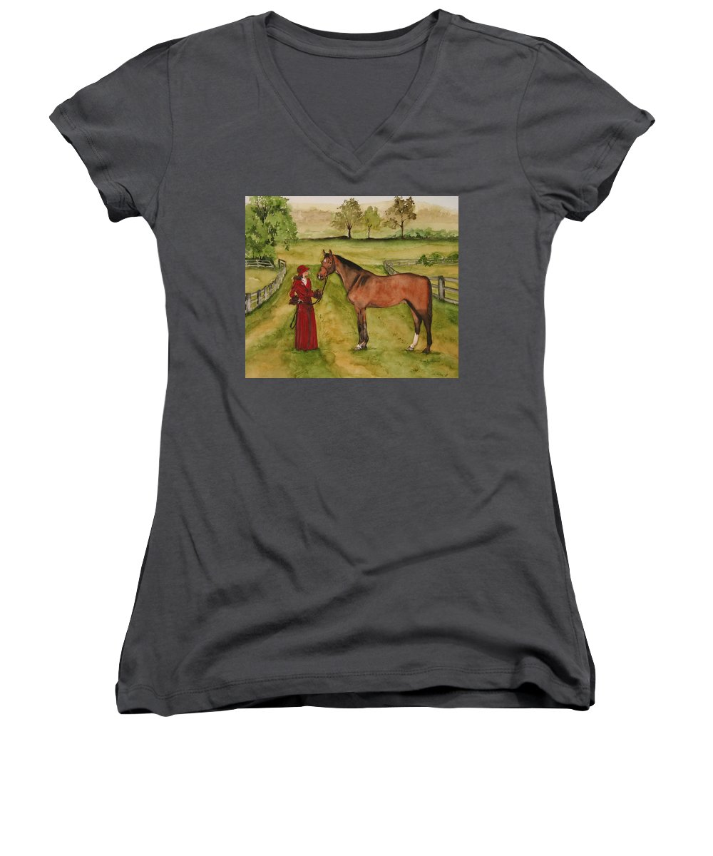 Horse Women's V-Neck T-Shirt featuring the painting Lady And Horse by Jean Blackmer