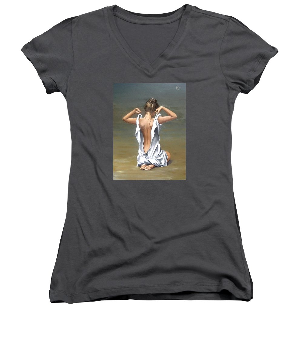 Lady Girl Woman Figurative Figure Nude Portrait Fine Art Female Women's V-Neck (Athletic Fit) featuring the painting Lady by Natalia Tejera