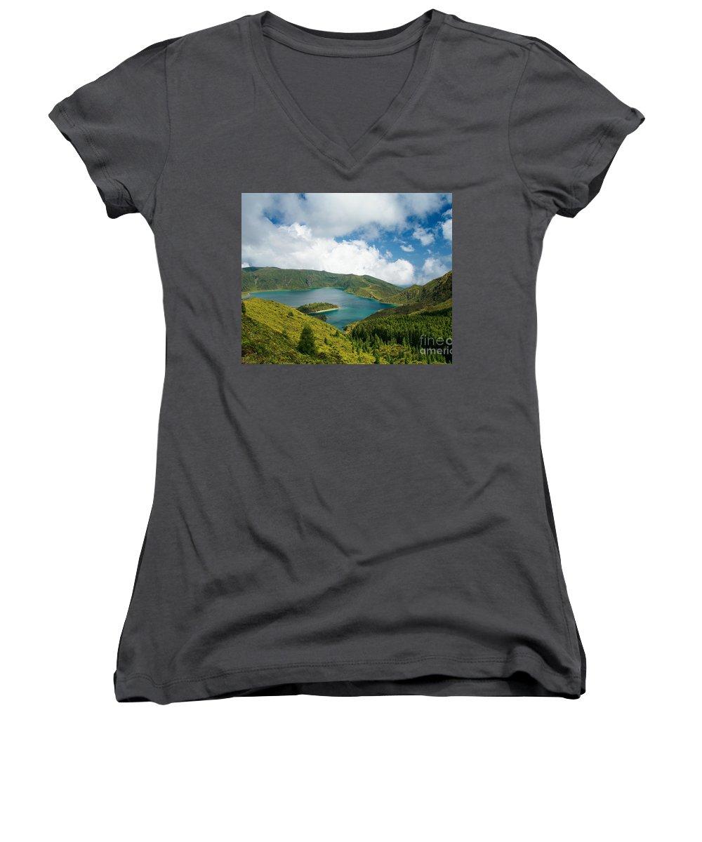 Lagoa Do Fogo Women's V-Neck T-Shirt featuring the photograph Lagoa Do Fogo by Gaspar Avila