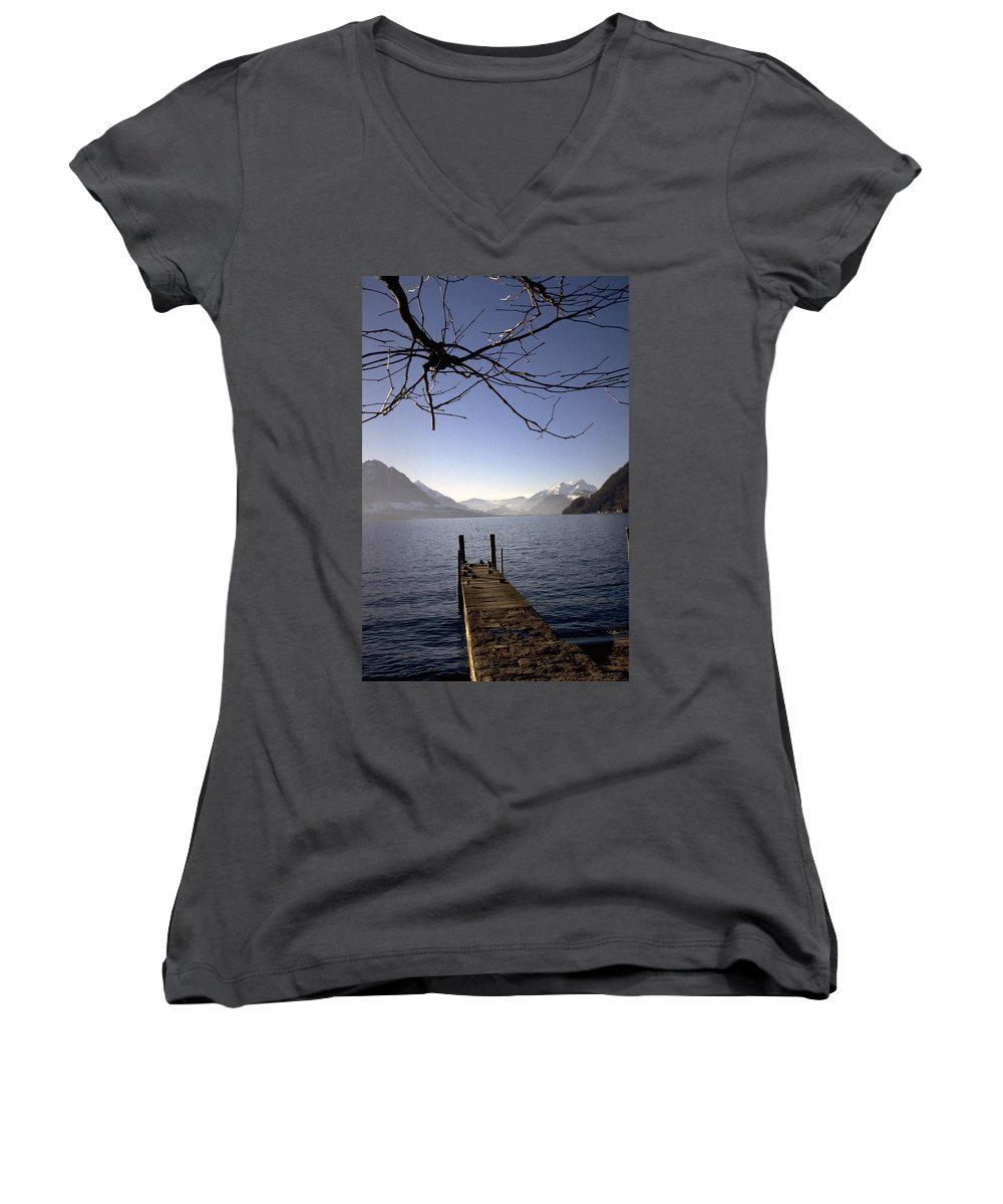 Lake Lucerne Women's V-Neck (Athletic Fit) featuring the photograph Lake Lucerne by Flavia Westerwelle