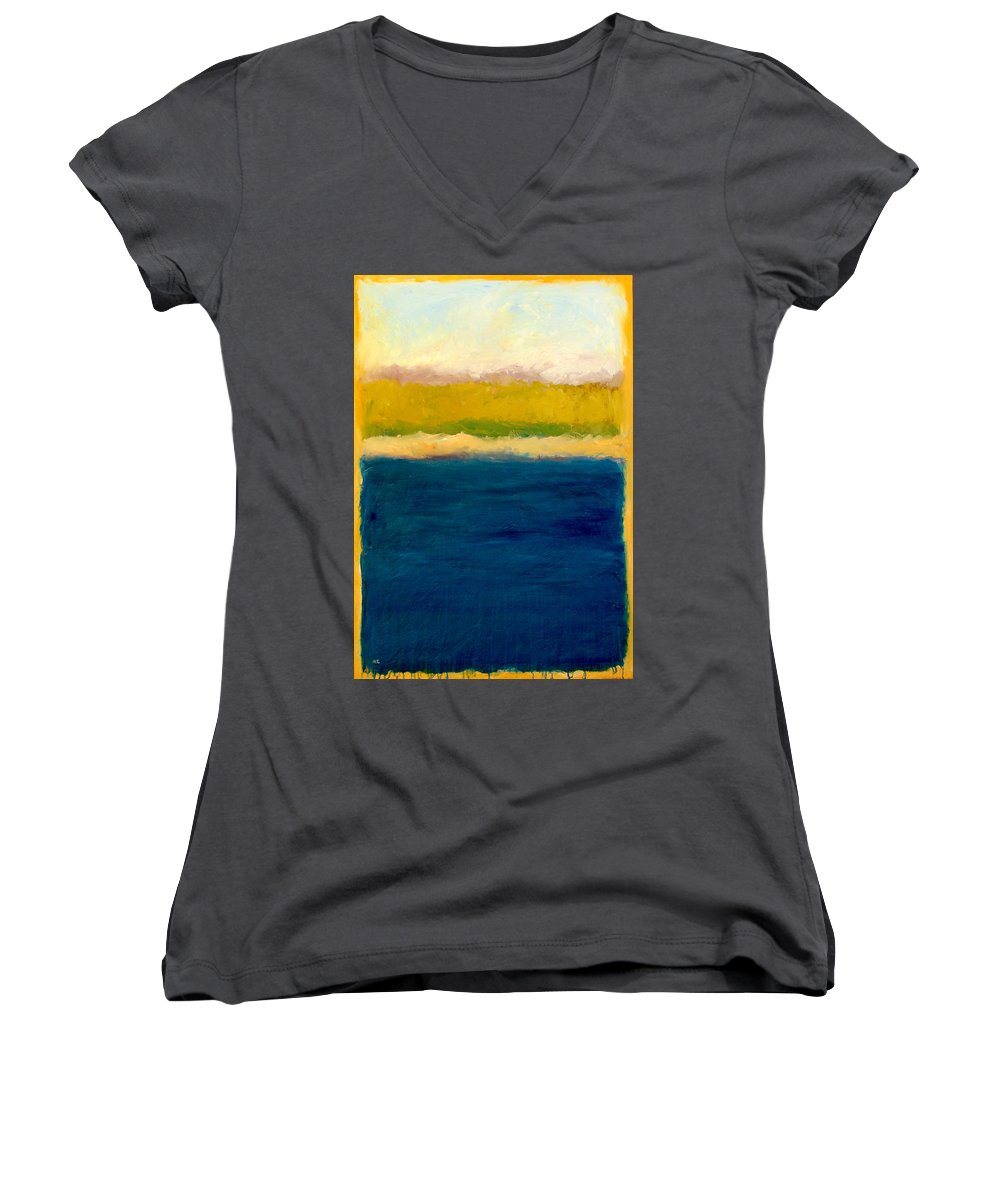 Dunes Women's V-Neck T-Shirt featuring the painting Lake Michigan Beach Abstracted by Michelle Calkins