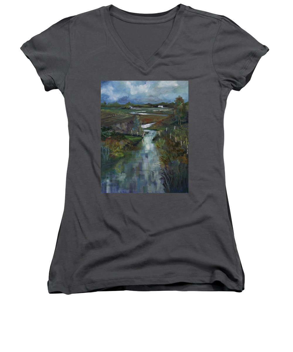 River Women's V-Neck (Athletic Fit) featuring the painting Laramie River Valley by Heather Coen