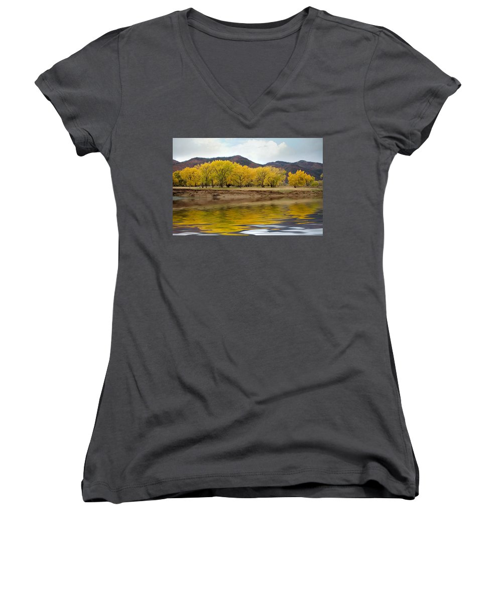 River Women's V-Neck (Athletic Fit) featuring the photograph Las Animas Fall by Jerry McElroy
