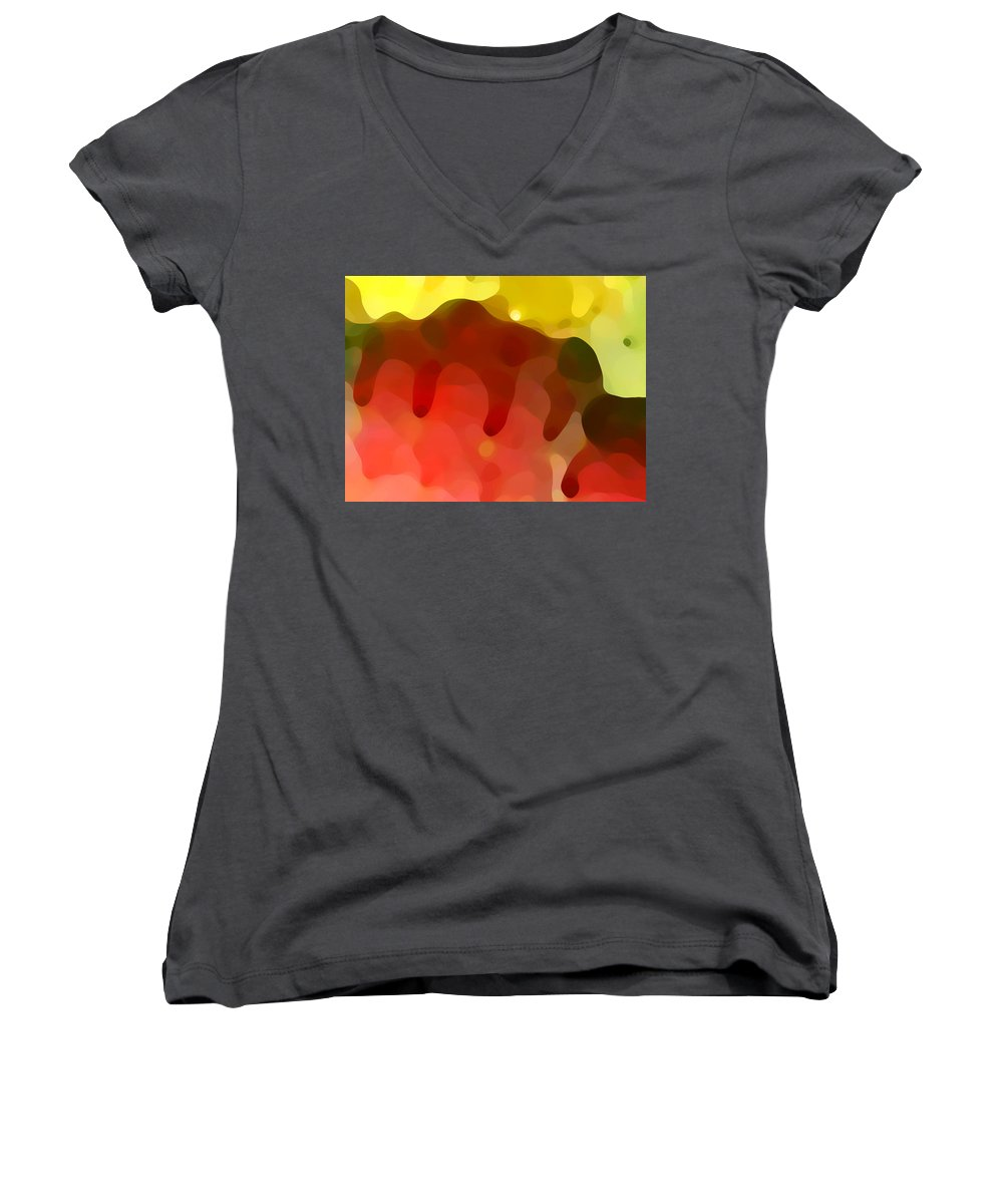 Abstract Women's V-Neck (Athletic Fit) featuring the painting Las Tunas Ridge by Amy Vangsgard