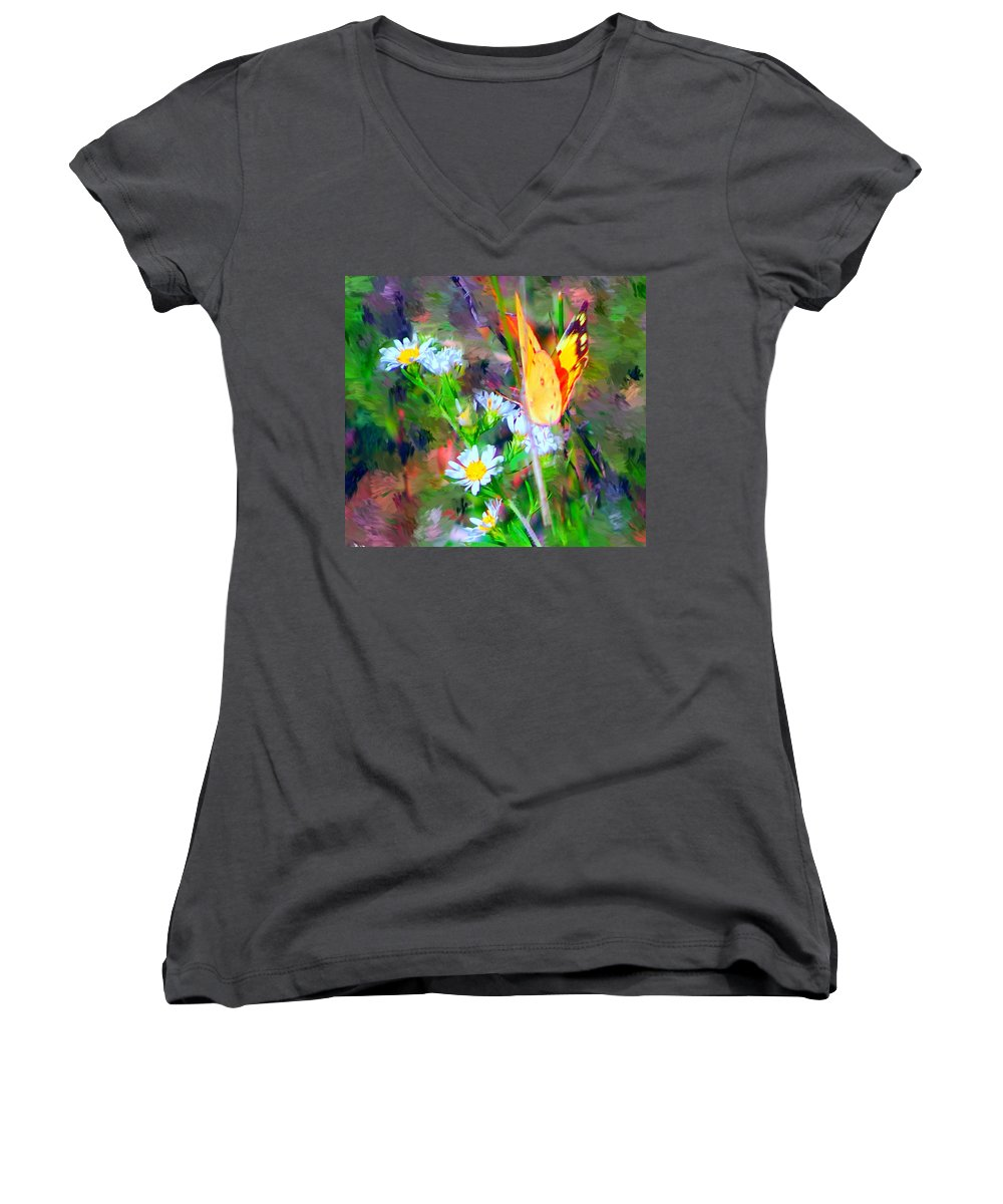 Landscape Women's V-Neck (Athletic Fit) featuring the painting Last Of The Season by David Lane