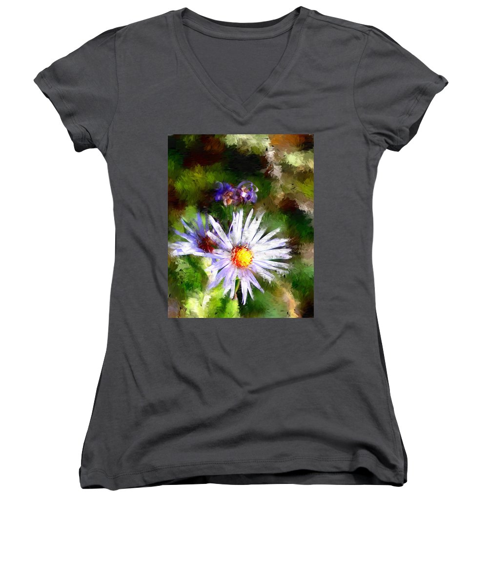 Flower Women's V-Neck T-Shirt featuring the photograph Last Rose Of Summer by David Lane