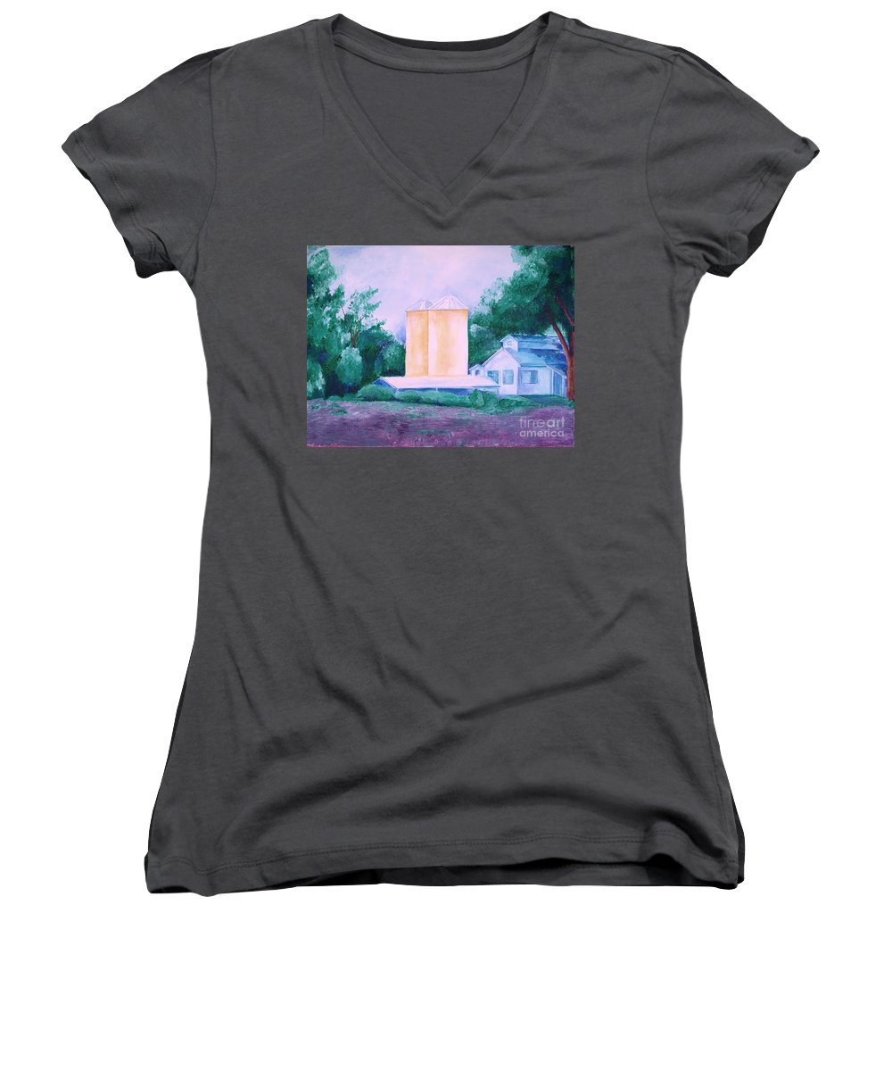 Western Women's V-Neck (Athletic Fit) featuring the painting Lavender Farm Albuquerque by Eric Schiabor