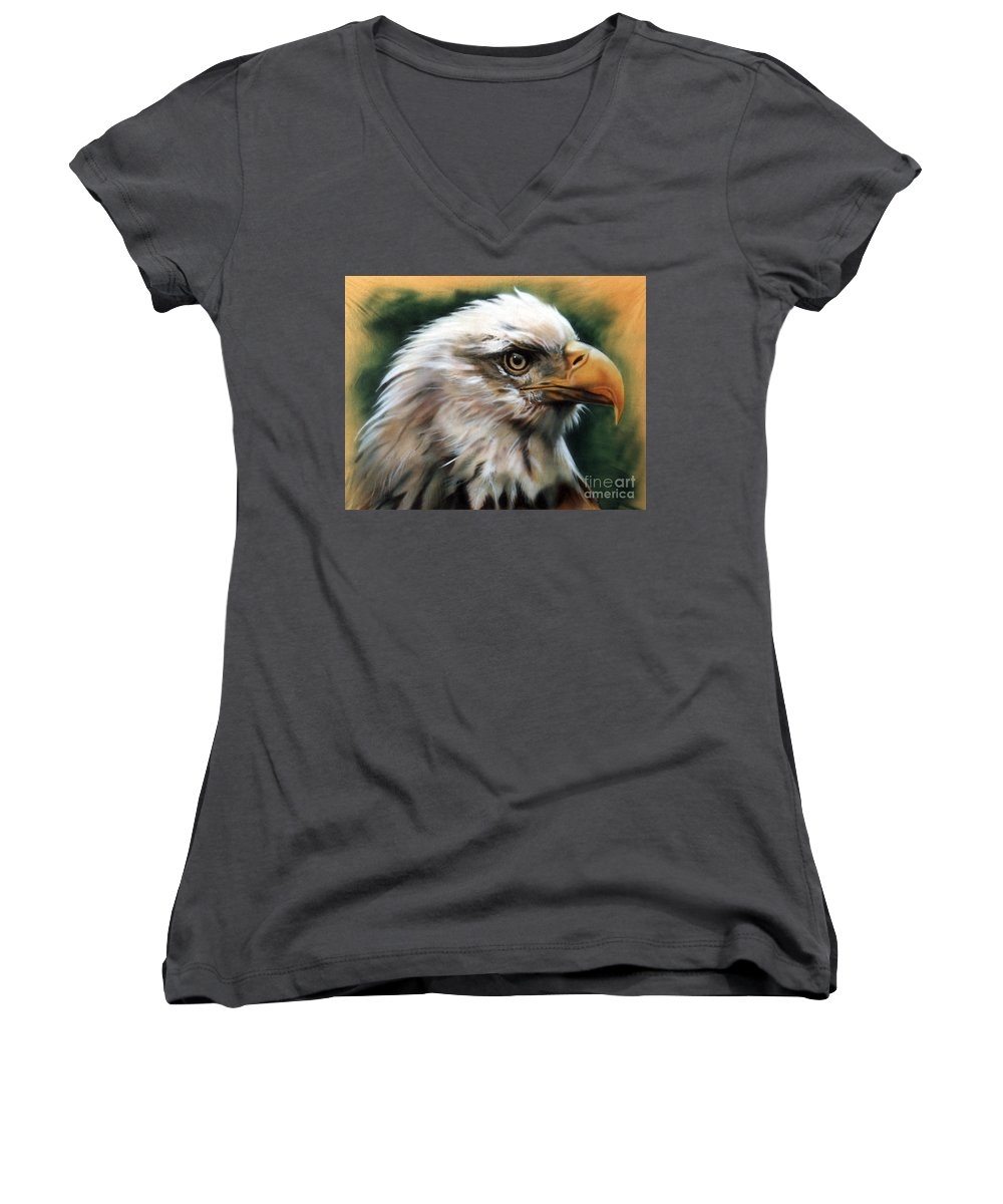 Southwest Art Women's V-Neck T-Shirt featuring the painting Leather Eagle by J W Baker