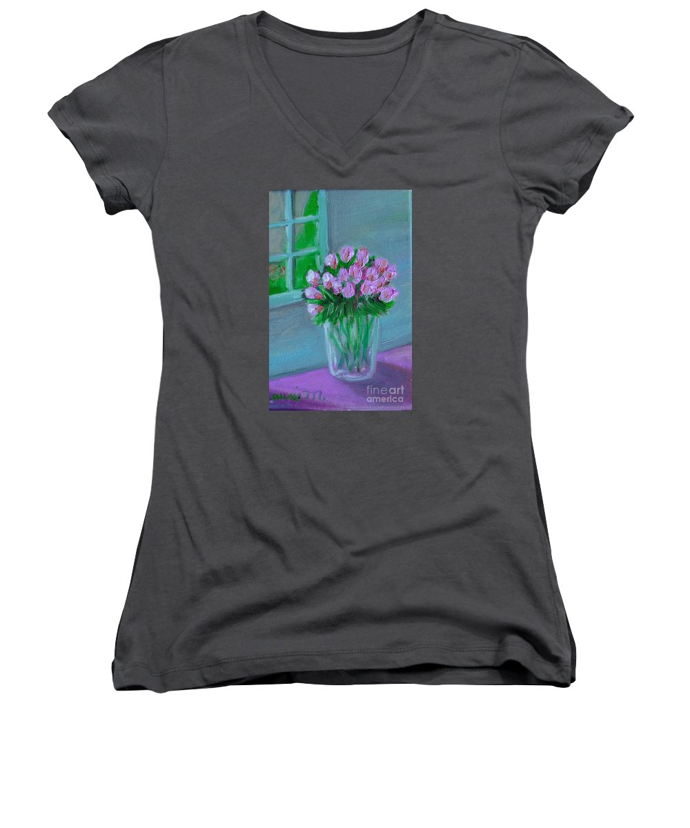 Rose Women's V-Neck T-Shirt featuring the painting Leslie's Roses by Laurie Morgan