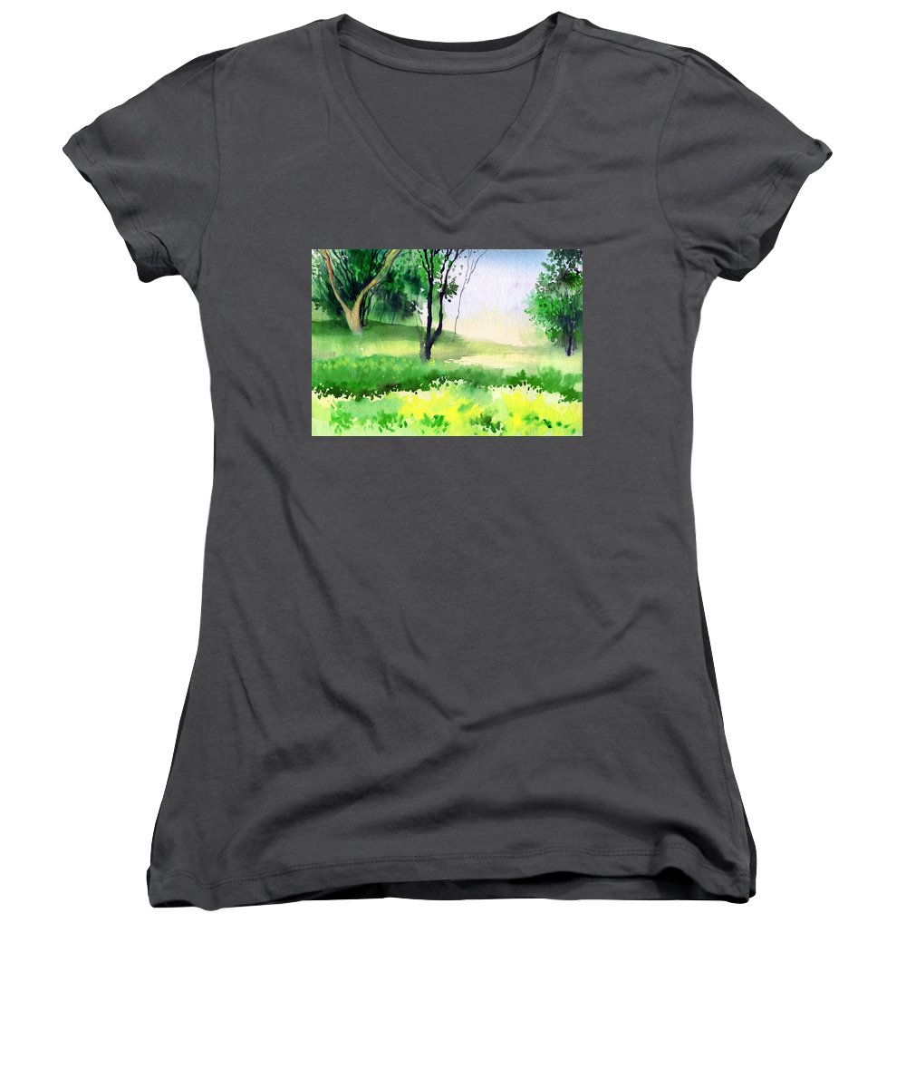 Watercolor Women's V-Neck T-Shirt featuring the painting Let's Go For A Walk by Anil Nene
