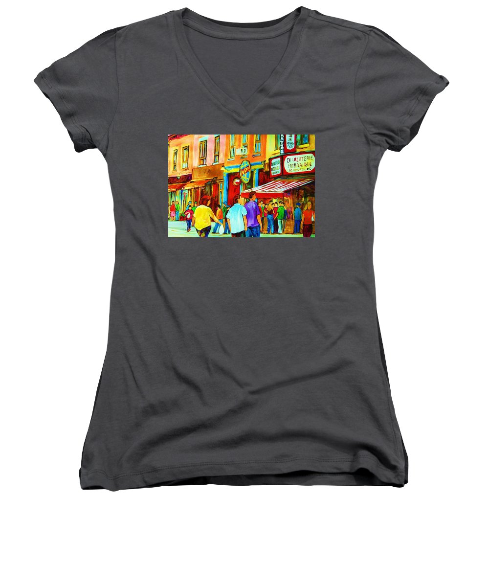 Cityscape Women's V-Neck T-Shirt featuring the painting Lets Meet For Lunch by Carole Spandau