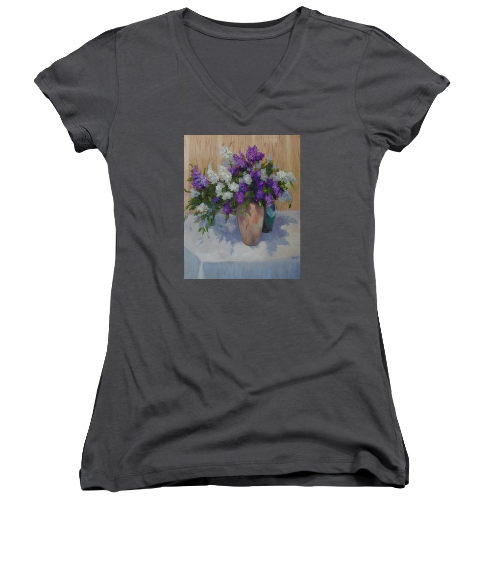 Lilacs Women's V-Neck (Athletic Fit) featuring the painting Lilacs by Patricia Kness