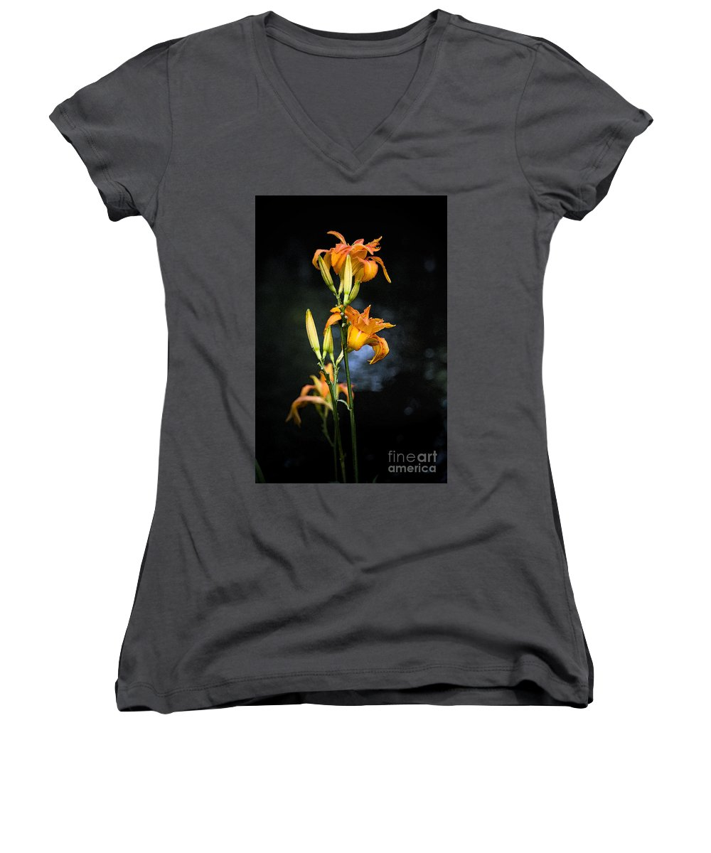 Lily Monet Garden Flora Women's V-Neck (Athletic Fit) featuring the photograph Lily In Monets Garden by Sheila Smart Fine Art Photography