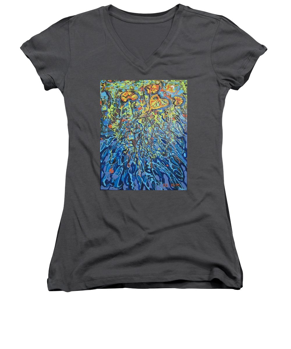 Lily Pads Paintings Women's V-Neck (Athletic Fit) featuring the painting Lily Pads Water Lily Paintings by Seon-Jeong Kim