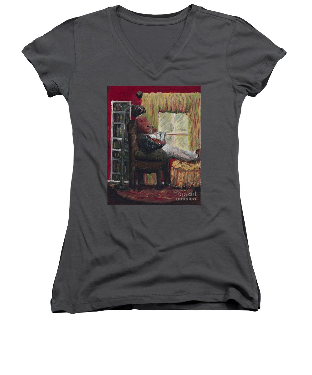 Hog Women's V-Neck (Athletic Fit) featuring the painting Literary Escape by Nadine Rippelmeyer