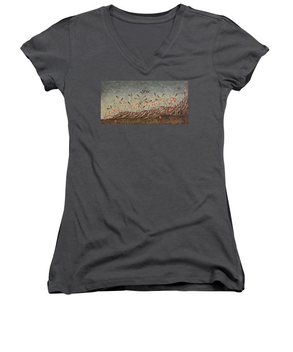 Sex Women's V-Neck T-Shirt featuring the painting Little Gods by Judy Henninger
