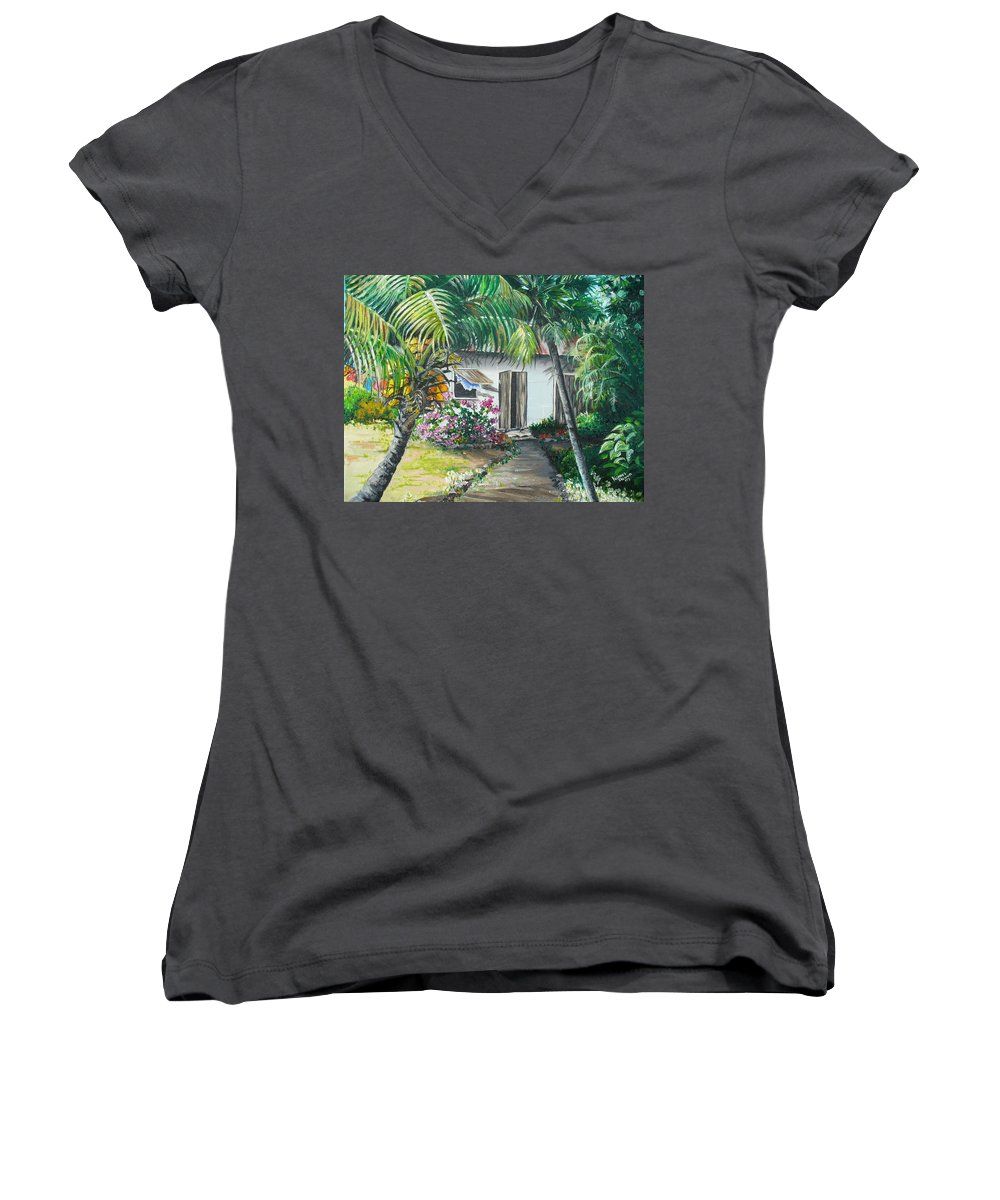 Caribbean Painting Typical Country House In Trinidad And The Islands With Coconut Tree Tropical Painting Women's V-Neck T-Shirt featuring the painting Little West Indian House 2...sold by Karin Dawn Kelshall- Best