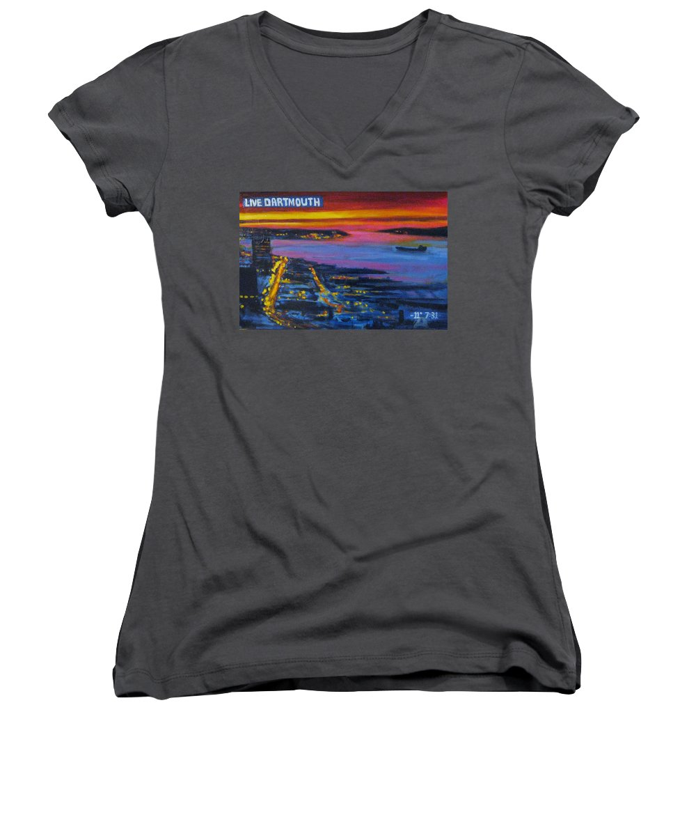 Night Scenes Women's V-Neck T-Shirt featuring the painting Live Eye Over Dartmouth Ns by John Malone