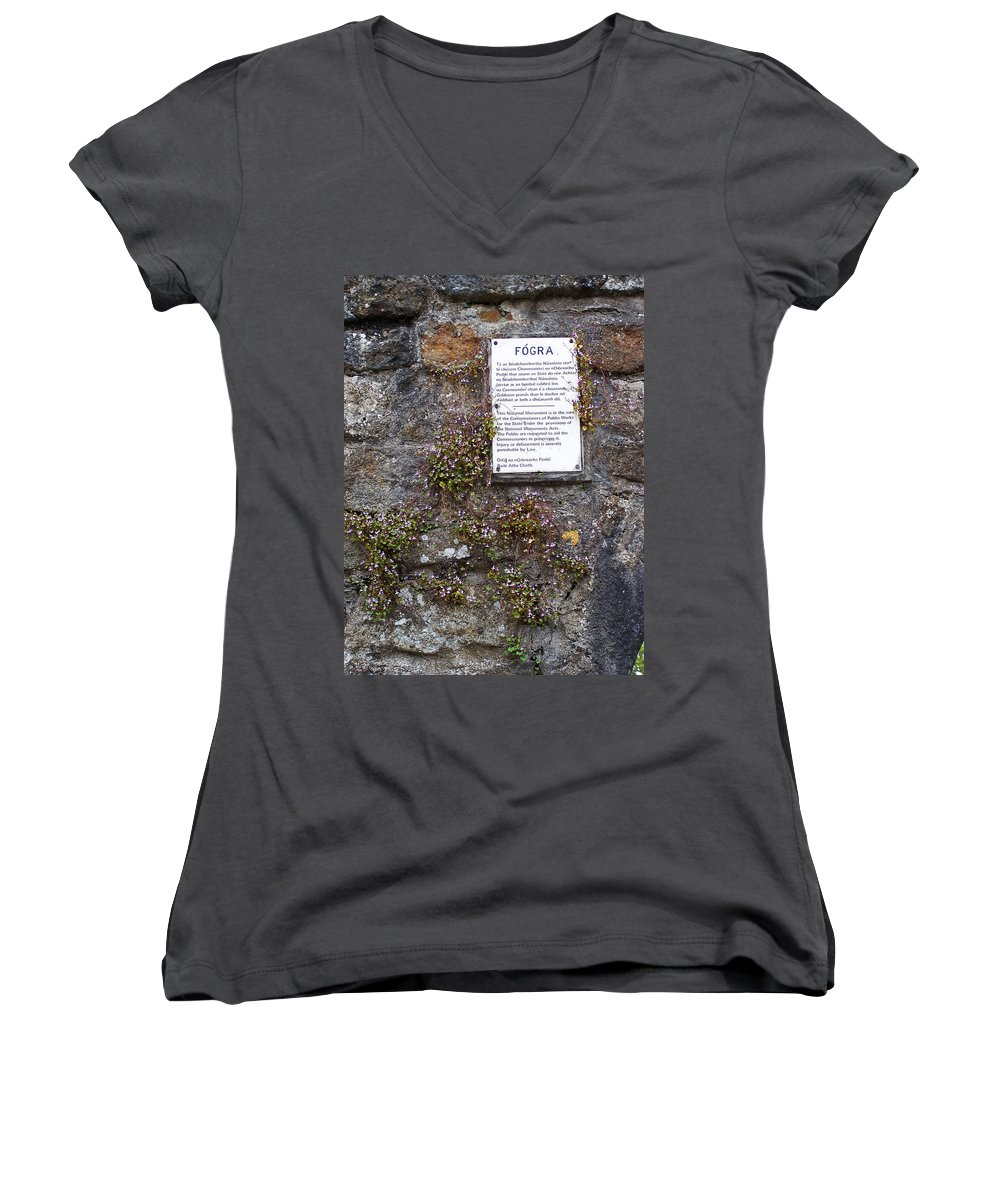 Irish Women's V-Neck T-Shirt featuring the photograph Living Wall At Donegal Castle Ireland by Teresa Mucha