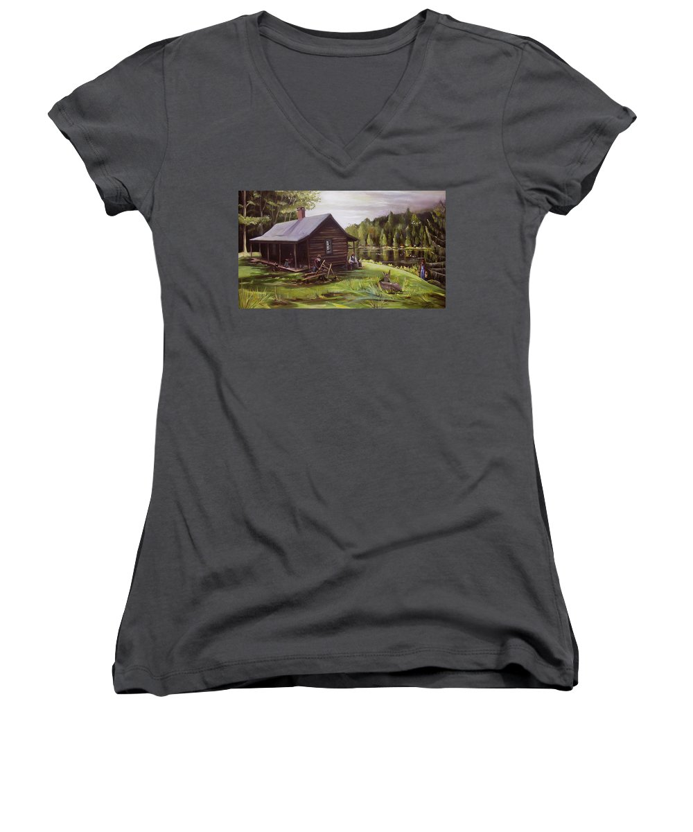 Log Cabin By The Lake Women's V-Neck T-Shirt featuring the painting Log Cabin By The Lake by Nancy Griswold