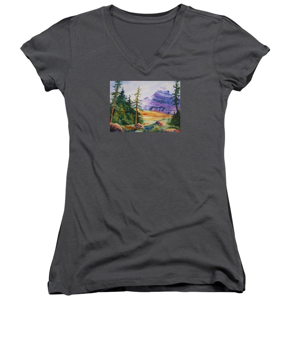 Landscape Women's V-Neck T-Shirt featuring the painting Logan Pass by Karen Stark