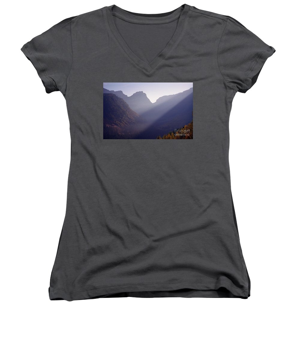 Mountains Women's V-Neck T-Shirt featuring the photograph Logan Pass by Richard Rizzo