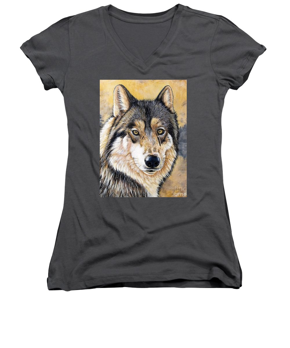 Acrylics Women's V-Neck (Athletic Fit) featuring the painting Loki by Sandi Baker