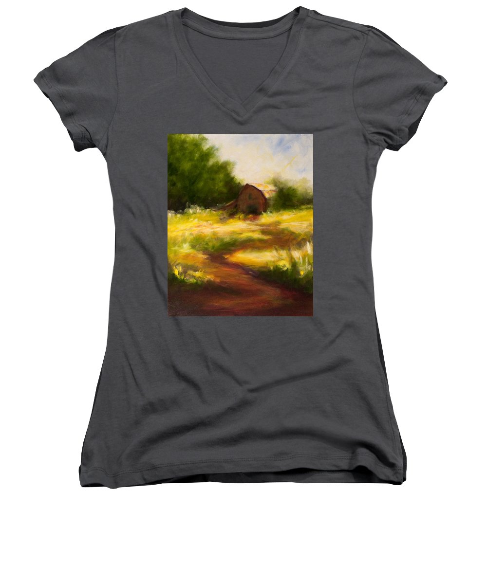 Landscape Women's V-Neck T-Shirt featuring the painting Long Road Home by Shannon Grissom