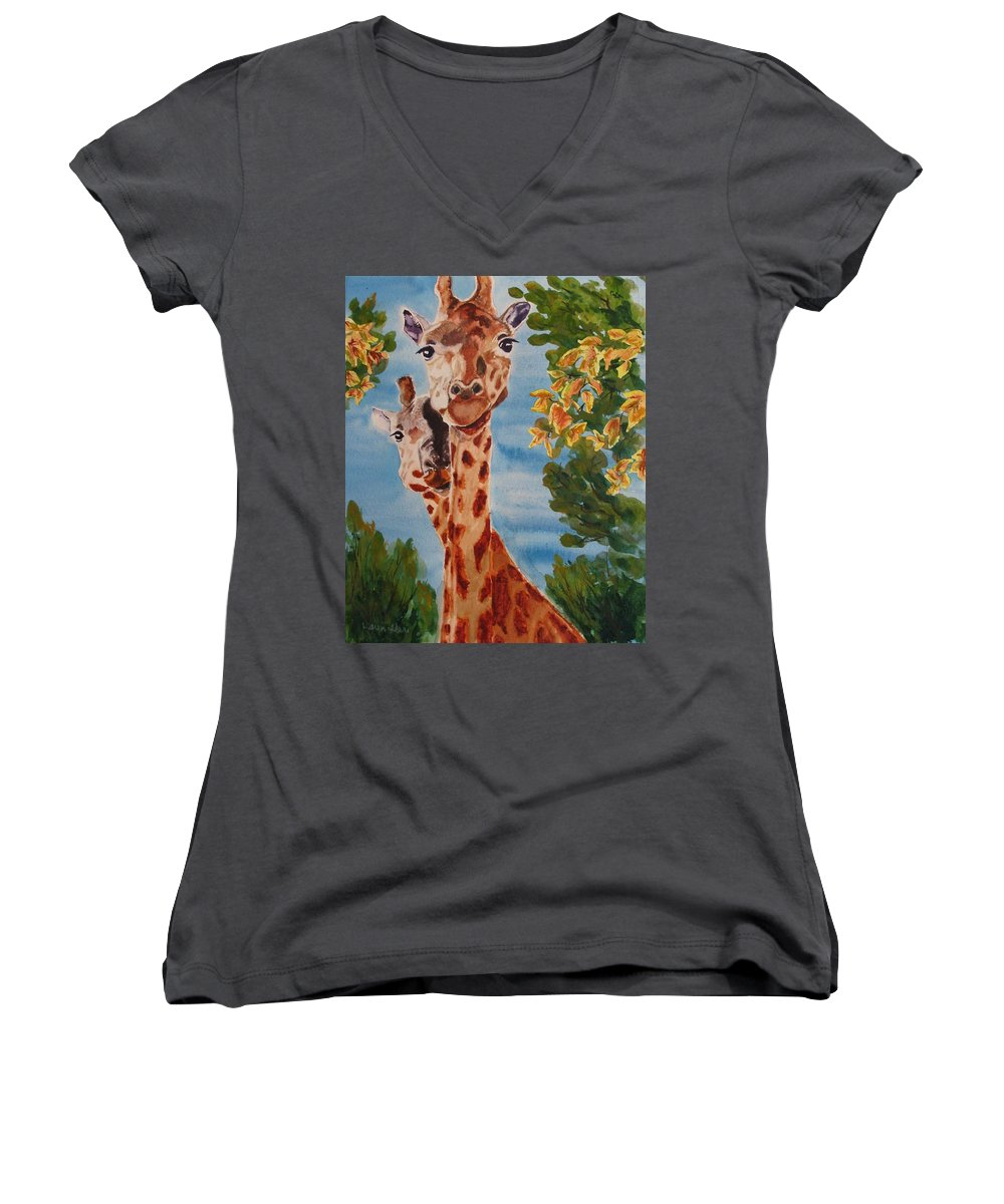 Giraffes Women's V-Neck (Athletic Fit) featuring the painting Lookin Back by Karen Ilari