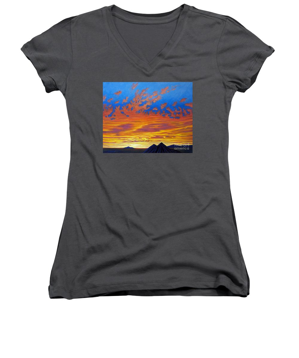 Landscape Women's V-Neck T-Shirt featuring the painting Looking To The Southwest by Brian Commerford