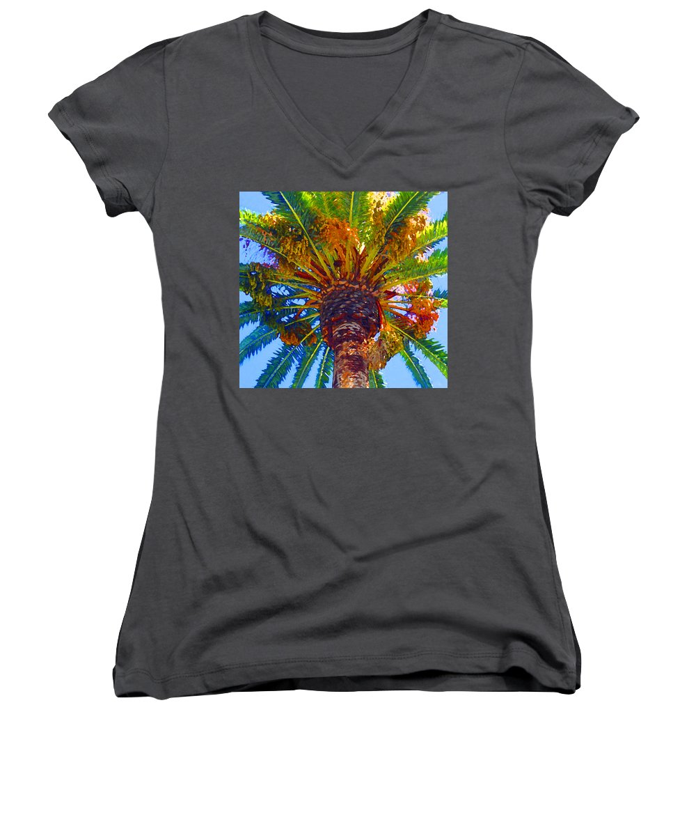 Garden Women's V-Neck T-Shirt featuring the painting Looking Up At Palm Tree by Amy Vangsgard