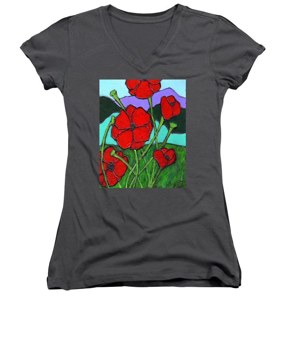 Poppies Women's V-Neck (Athletic Fit) featuring the painting Looking Up by Wayne Potrafka