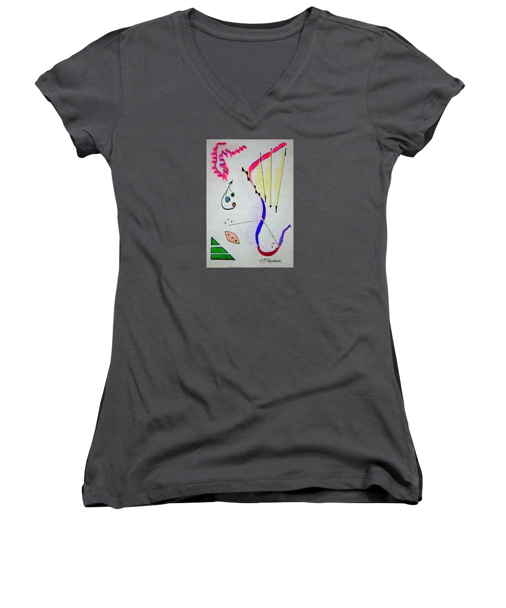 Abstract Women's V-Neck (Athletic Fit) featuring the mixed media Lost Directions by J R Seymour