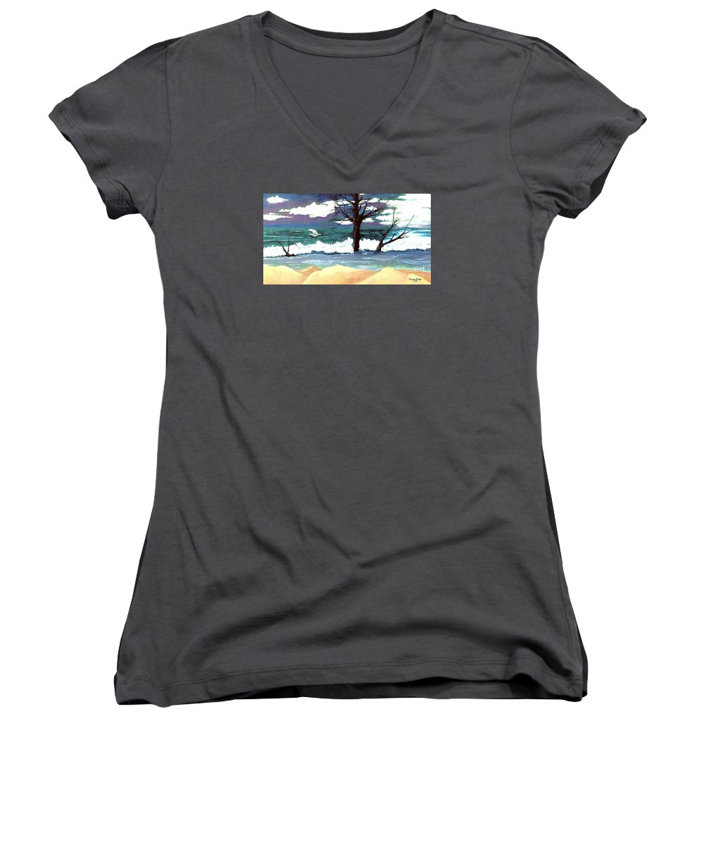 Original Watercolor Painting Women's V-Neck T-Shirt featuring the painting Lost Swan by Patricia Griffin Brett