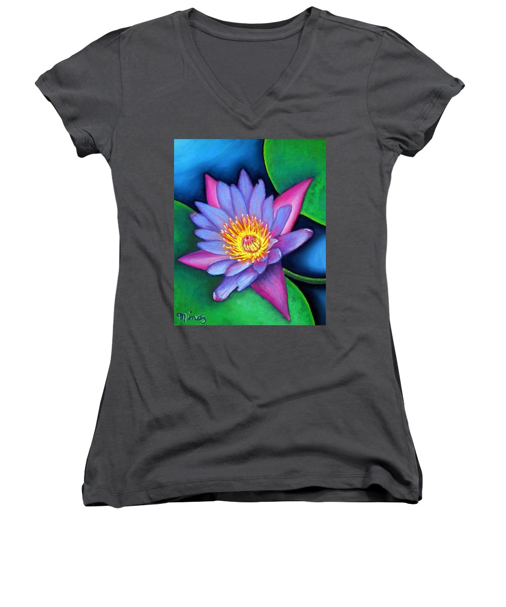 Flower Women's V-Neck (Athletic Fit) featuring the painting Lotus Divine by Minaz Jantz
