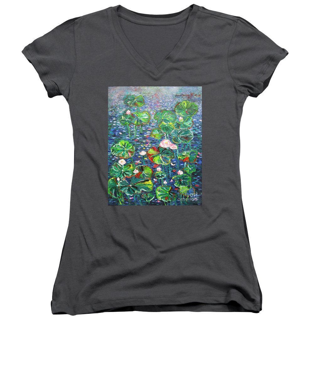 Water Lily Paintings Women's V-Neck T-Shirt featuring the painting Lotus Flower Water Lily Lily Pads Painting by Seon-Jeong Kim
