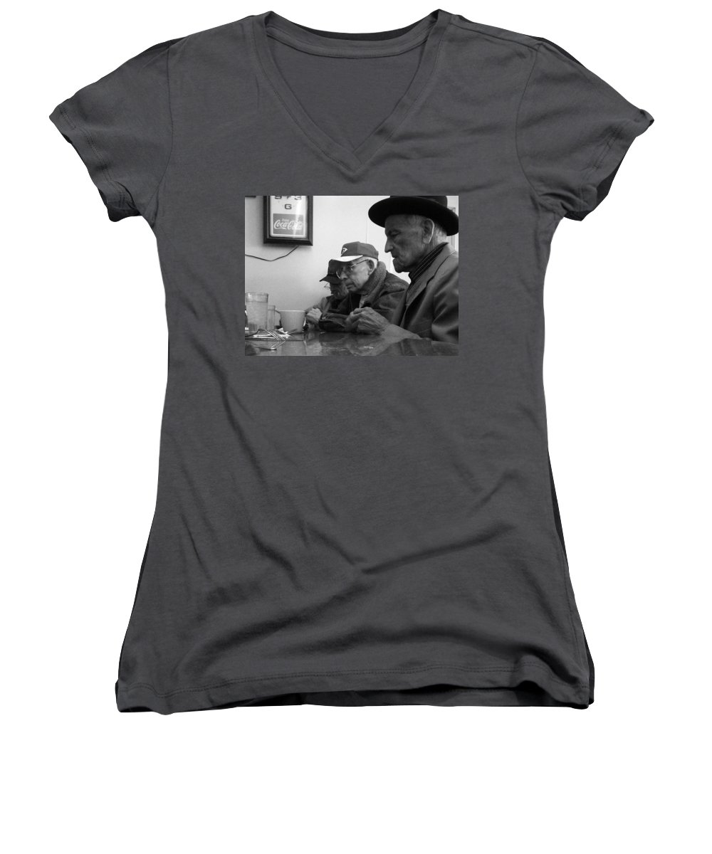 Diner Women's V-Neck (Athletic Fit) featuring the photograph Lunch Counter Boys - Black And White by Tim Nyberg
