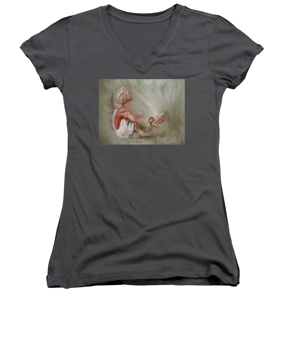 Girl Women's V-Neck (Athletic Fit) featuring the painting Lunch Pals by Regina Walsh