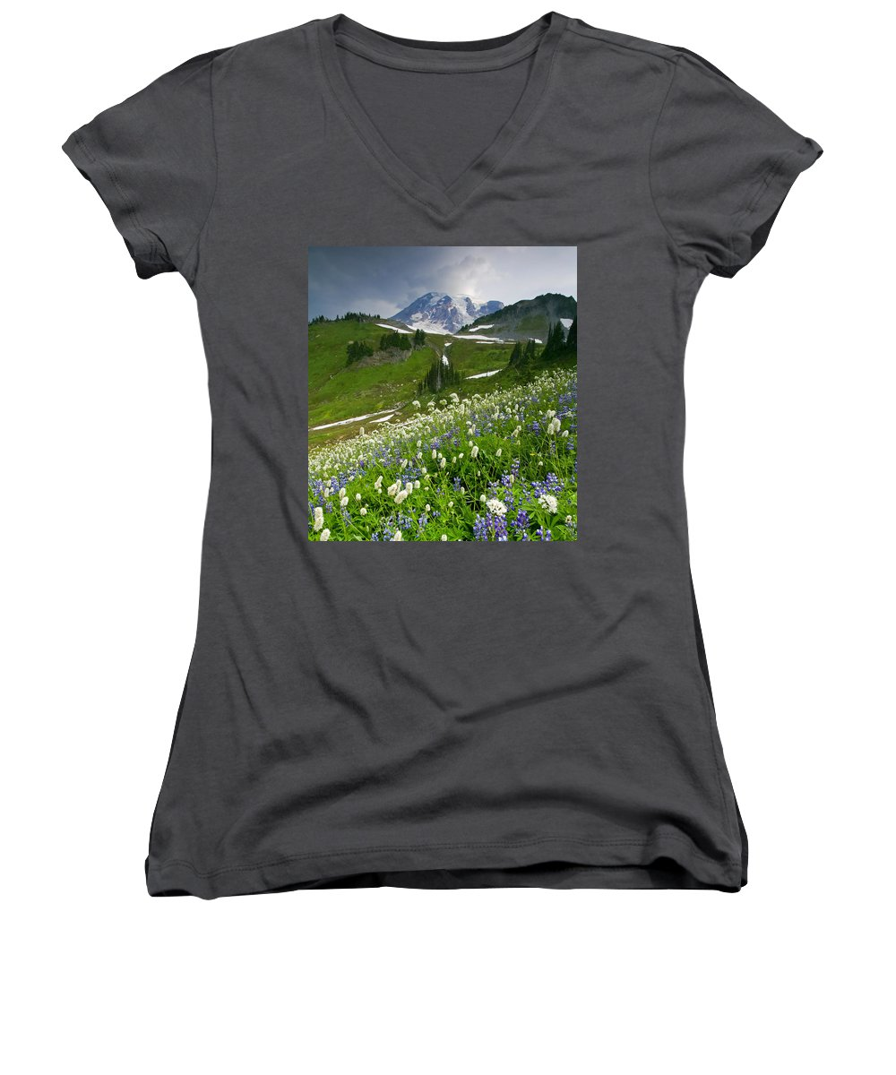 Rainier Women's V-Neck T-Shirt featuring the photograph Lupine Storm by Mike Dawson