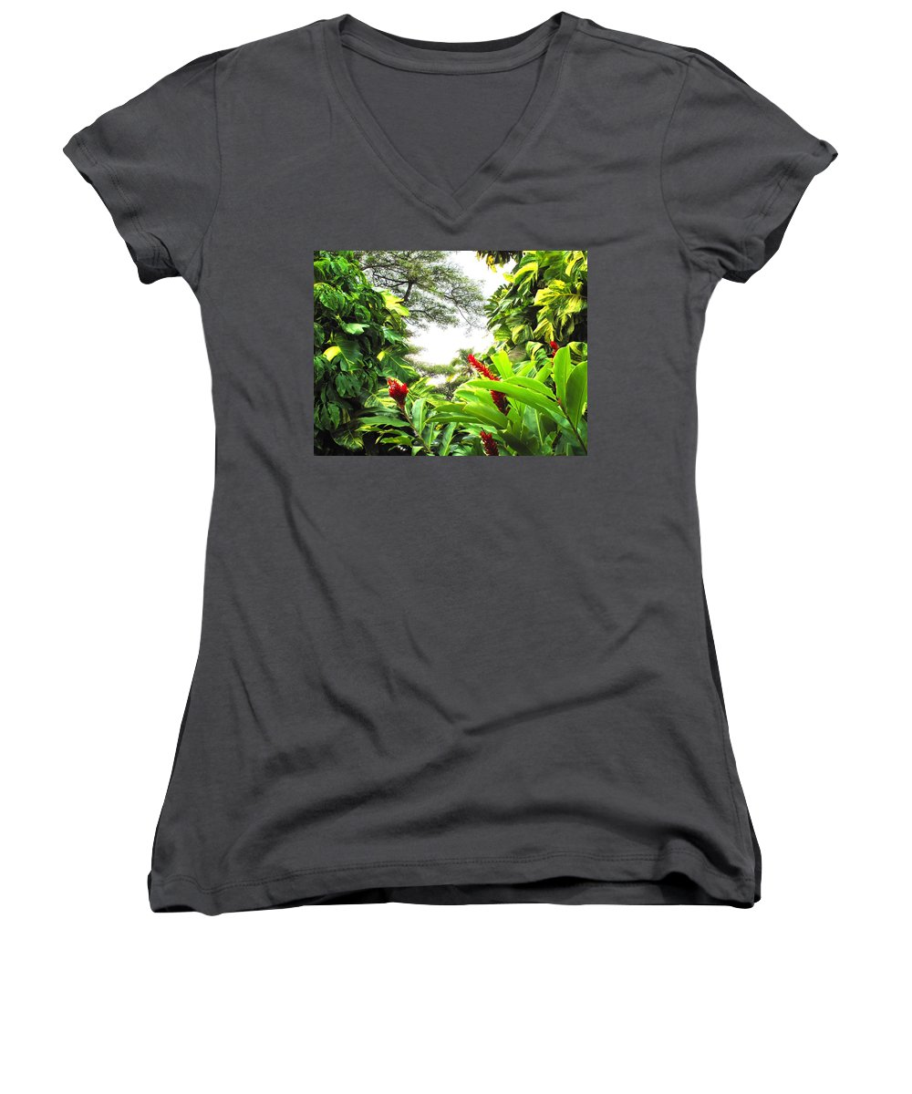 St Kitts Women's V-Neck T-Shirt featuring the photograph Lush by Ian MacDonald
