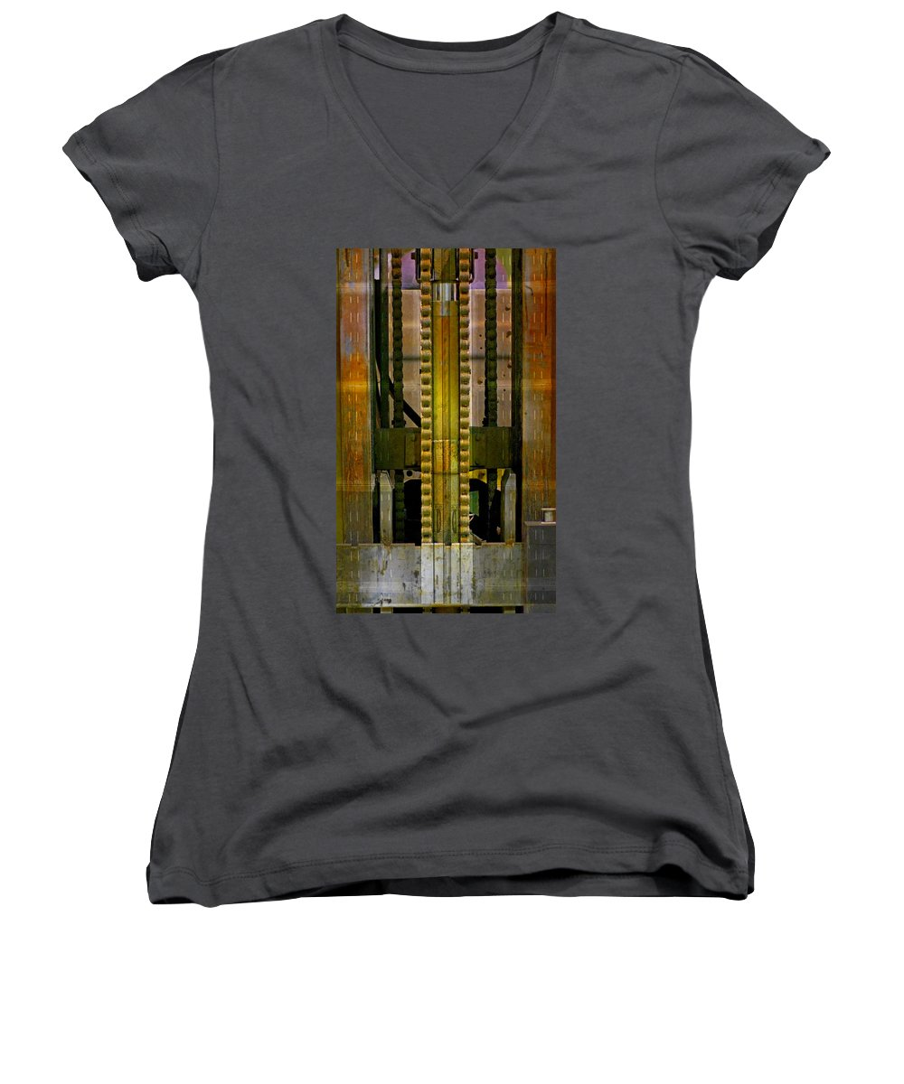 Texture Women's V-Neck T-Shirt featuring the photograph Machina by Skip Hunt
