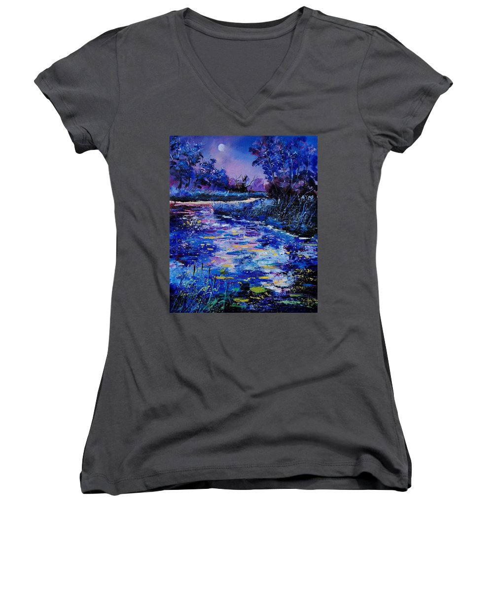 River Women's V-Neck (Athletic Fit) featuring the painting Magic Pond by Pol Ledent