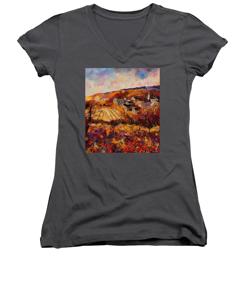 Poppies Women's V-Neck (Athletic Fit) featuring the painting Maissin by Pol Ledent