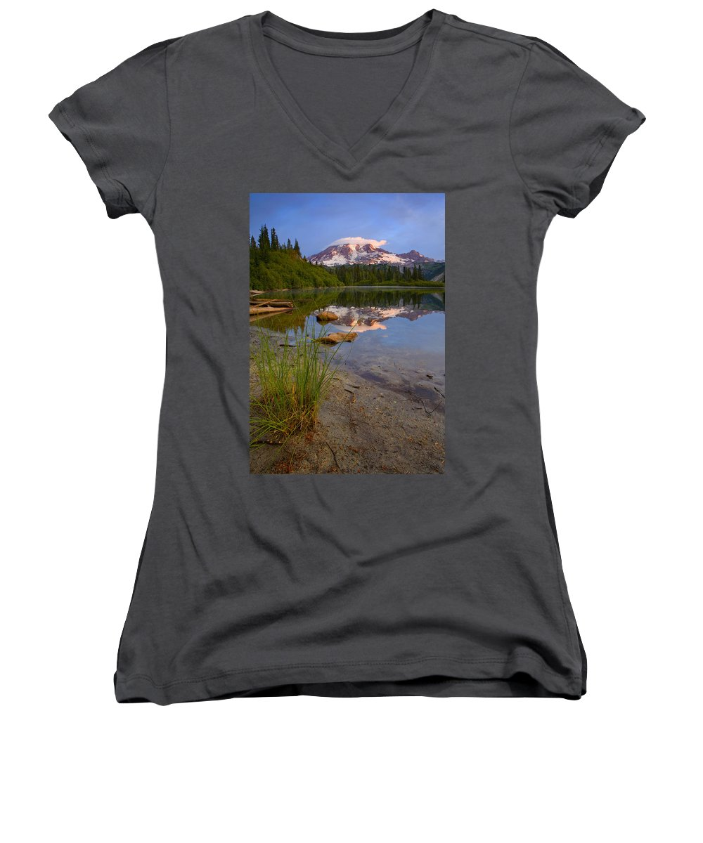 Mt. Rainier Women's V-Neck (Athletic Fit) featuring the photograph Majestic Glow by Mike Dawson