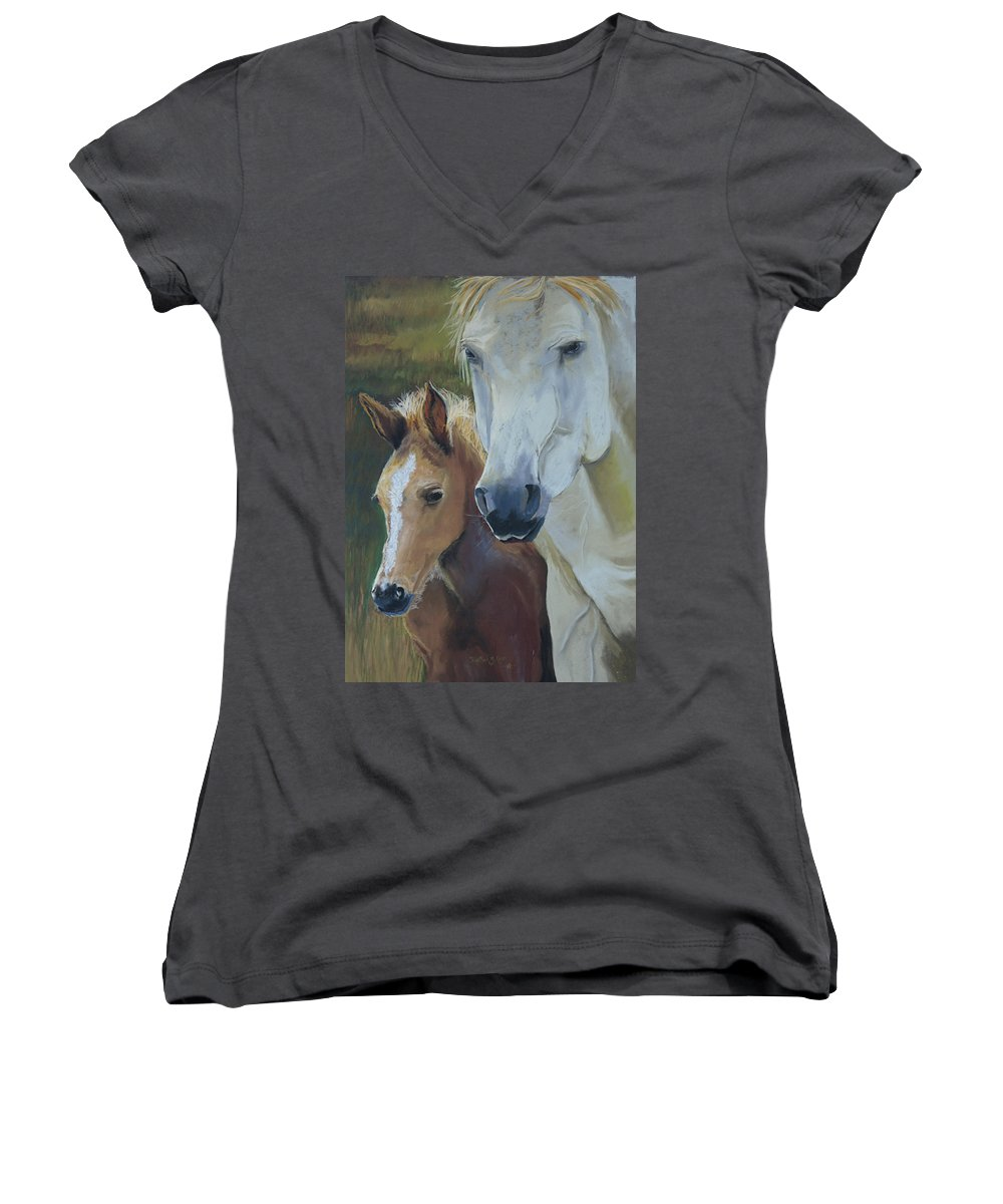 Horses Women's V-Neck T-Shirt featuring the painting Mama's Boy by Heather Coen