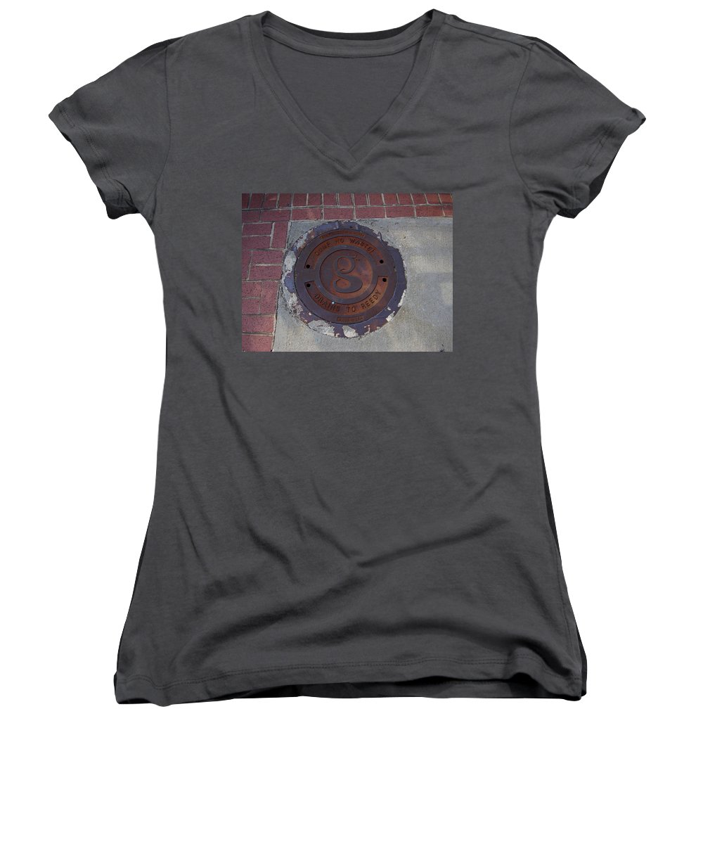 Manhole Women's V-Neck T-Shirt featuring the photograph Manhole II by Flavia Westerwelle