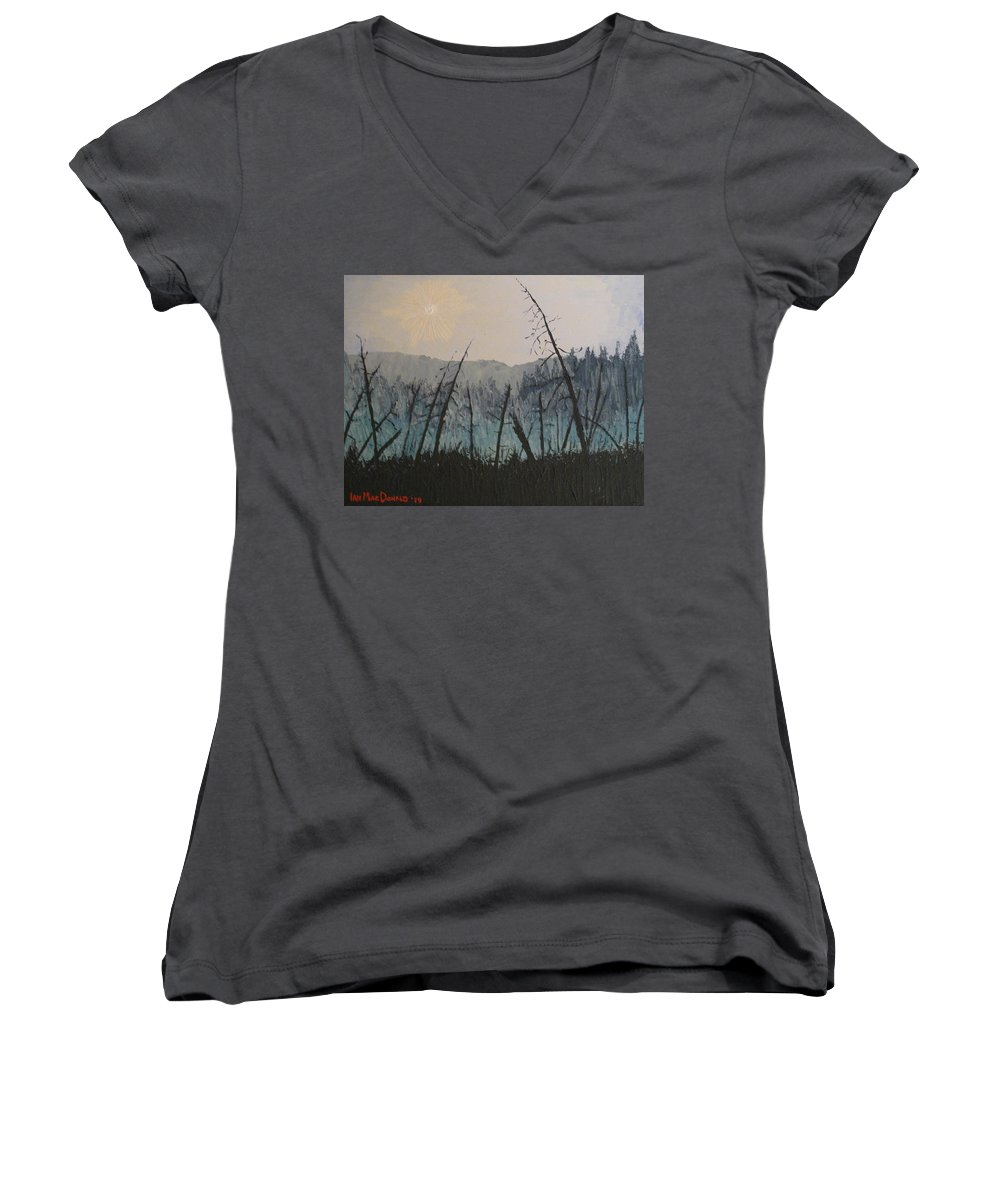 Northern Ontario Women's V-Neck (Athletic Fit) featuring the painting Manitoulin Beaver Meadow by Ian MacDonald