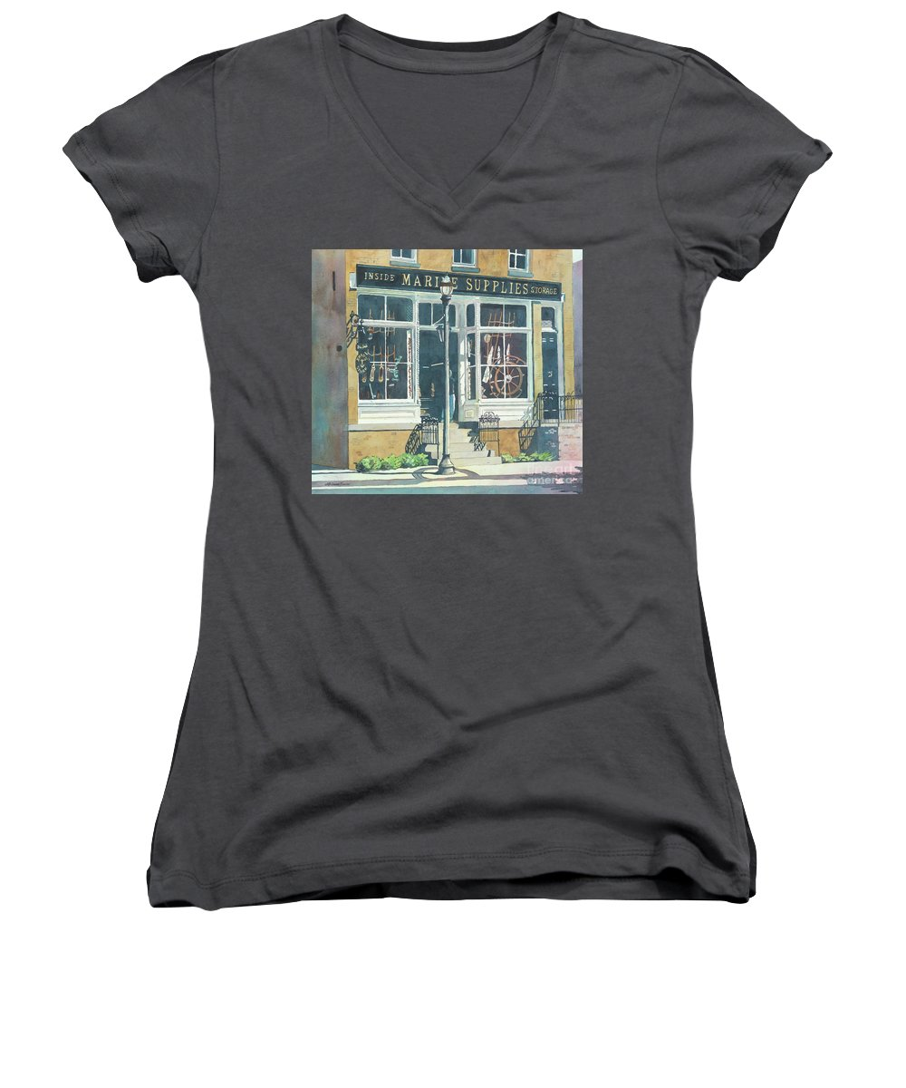 Storefronts Women's V-Neck T-Shirt featuring the painting Marine Supply Store by LeAnne Sowa
