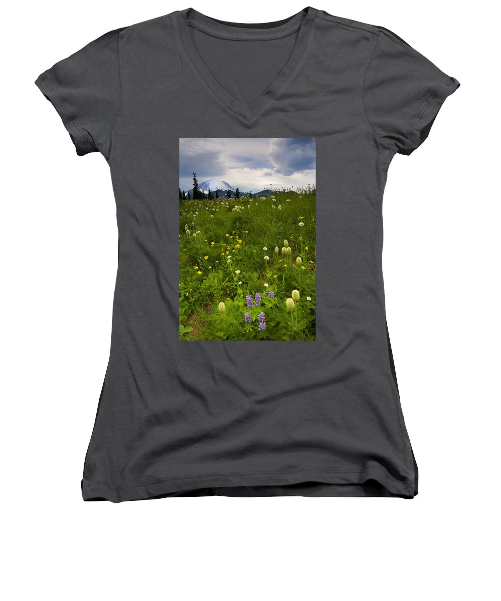 Rainier Women's V-Neck T-Shirt featuring the photograph Meadow Beneath The Storm by Mike Dawson