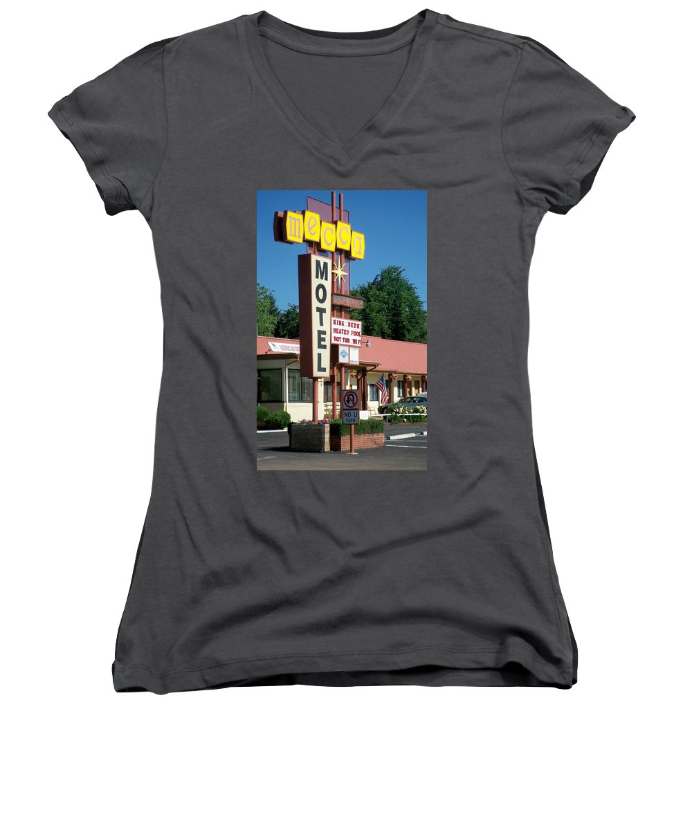 Vintage Motel Signs Women's V-Neck (Athletic Fit) featuring the photograph Mecca Motel by Anita Burgermeister